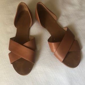 Madewell Brown All Leather Flat Sandals sz 6 EXC